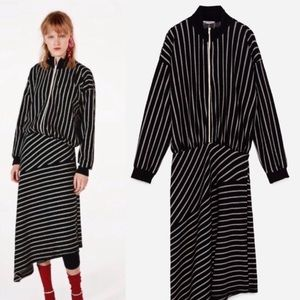 NWT! ZARA STRIPED LONG SLEEVE ASYMMETRIC DRESS
